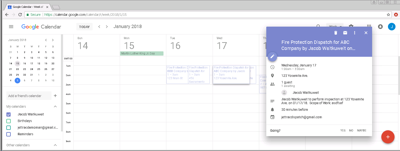Dispatch-google-calendar